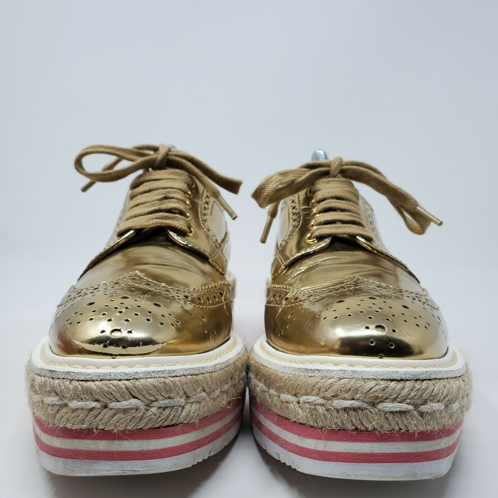 PRADA espadrille oxford shoes gold brogue pink pl… - image 3