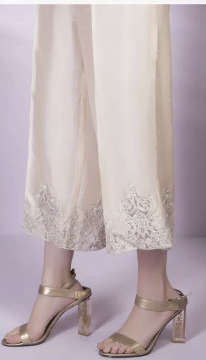 Sapphire Large Light Beige Silk Embroidered With Beads Trouser