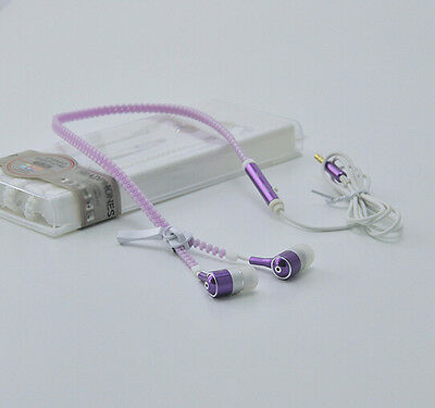 3.5mm In-Ear Headset Headphone Light Earbud Earphone Luminous Zipper Headphones