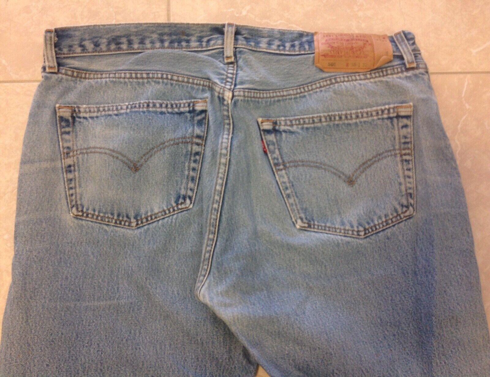 VTG 90s Levi's 501 38x32 USA Faded Distressed Blu… - image 7