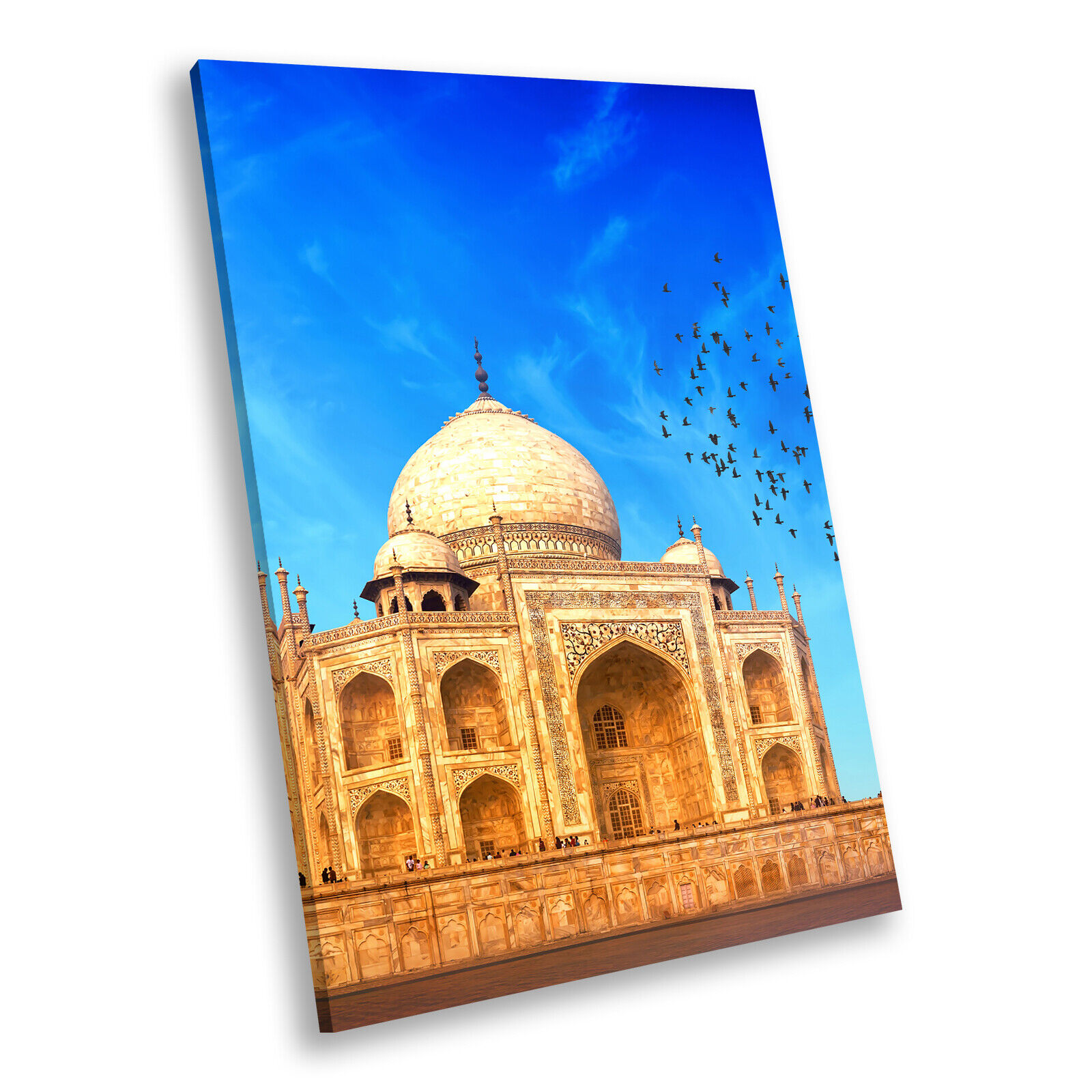 Blau Orange Taj Mahal Sunrise Portrait Scenic Canvas Wall Art Picture Prints