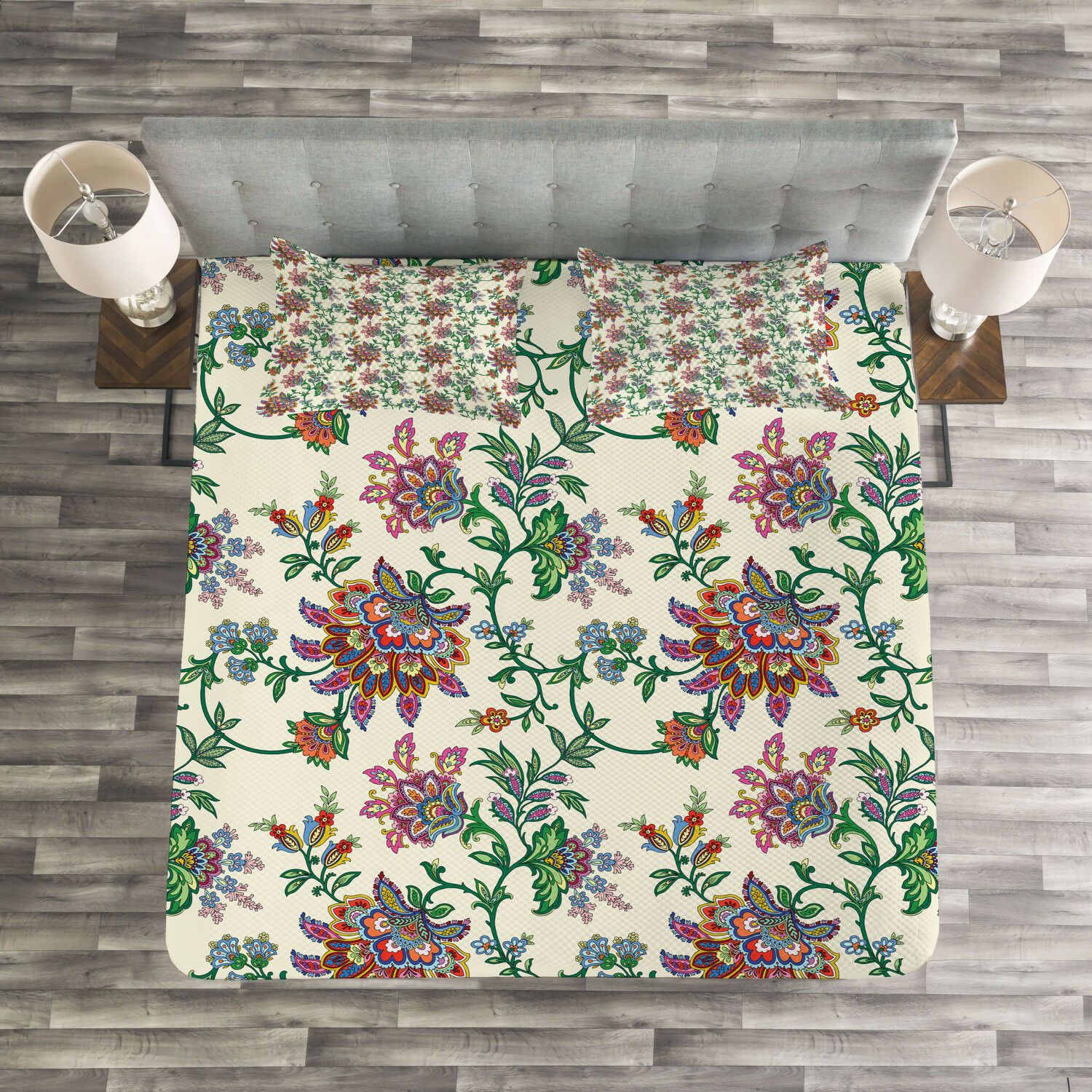 Bohemian Quilted Bedspread & Pillow Shams Set, Coloreeful Ethnic Flowers Print