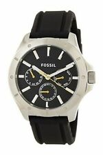FOSSIL MEN WATCH BQ1527 Multi-function Luminous Analog Dial Black Silicon/Rubber