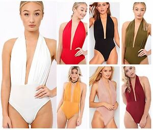 Womens Halterneck Plunge Neck Slinky Backless Bodysuit Leotard Bodycon Top 8-14