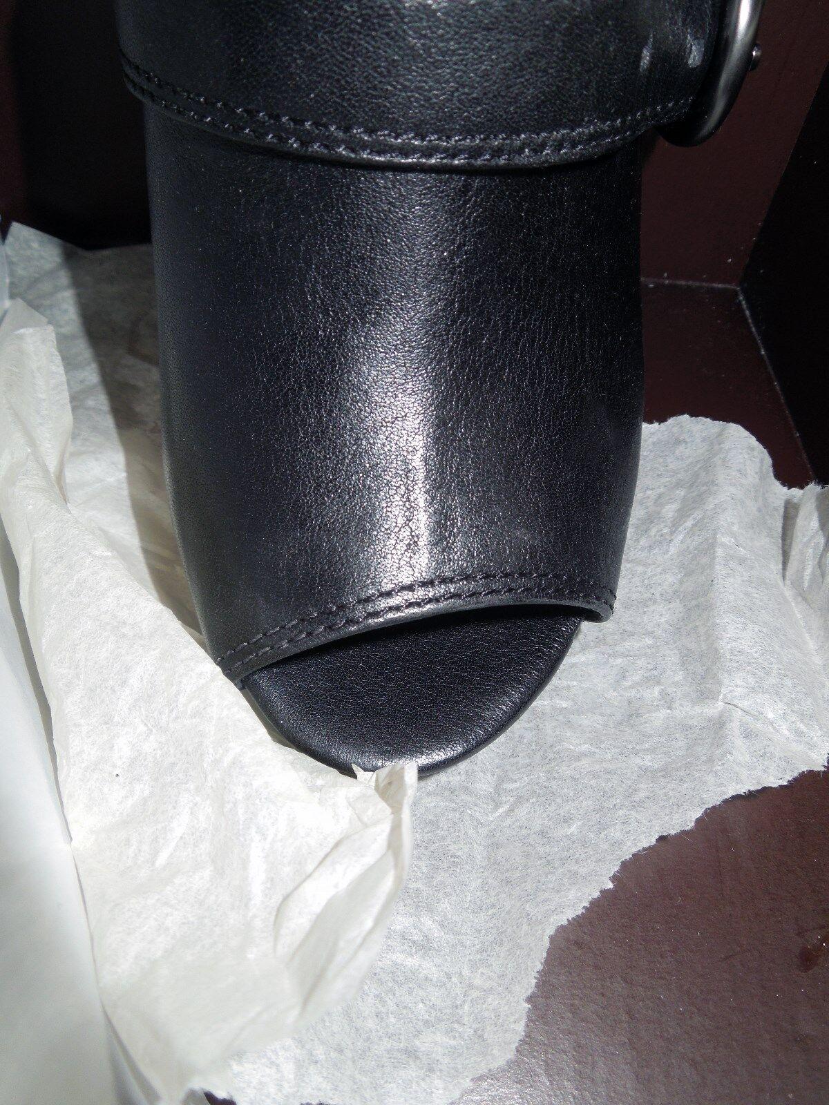 Plumín ENTRENADOR q643 Alexia Cuero Negro Peep Toe Plataforma Plataforma Plataforma Stiletto Botines 7.5 M b7a07b