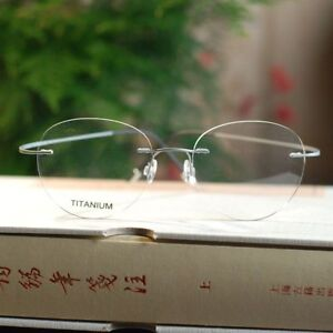 4a492473494 Image is loading Silver-Pure-Titanium-Rimless-STEVE-Round-Flexible-Optical-