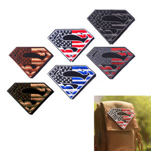 Superman-American-Flag-USA-Army-Military-Tactical-Patch-Sewing-Hook-Loop-PP