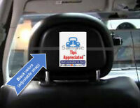 Uber Lyft  Shuttle head rest sign to encourage customer tipping