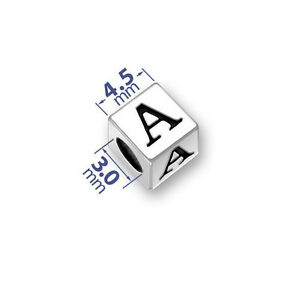 Silver-4-5mm-Alphabet-Square-Letter-Beads-Blocks-925