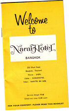 Welcome to Narai Hotel Bangkok Thailand Vintage Room Booklet 1969 Ads