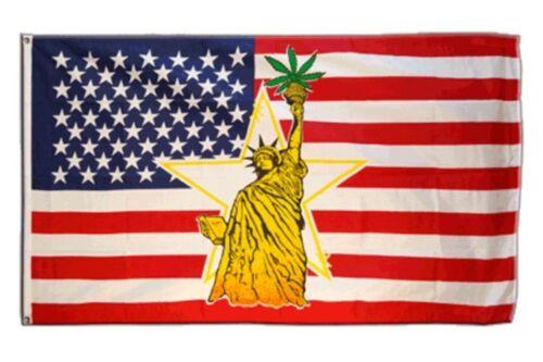 DRAPEAU USA statue de la liberté avec le cannabis drapeau américain Hissflagge 90x150cm