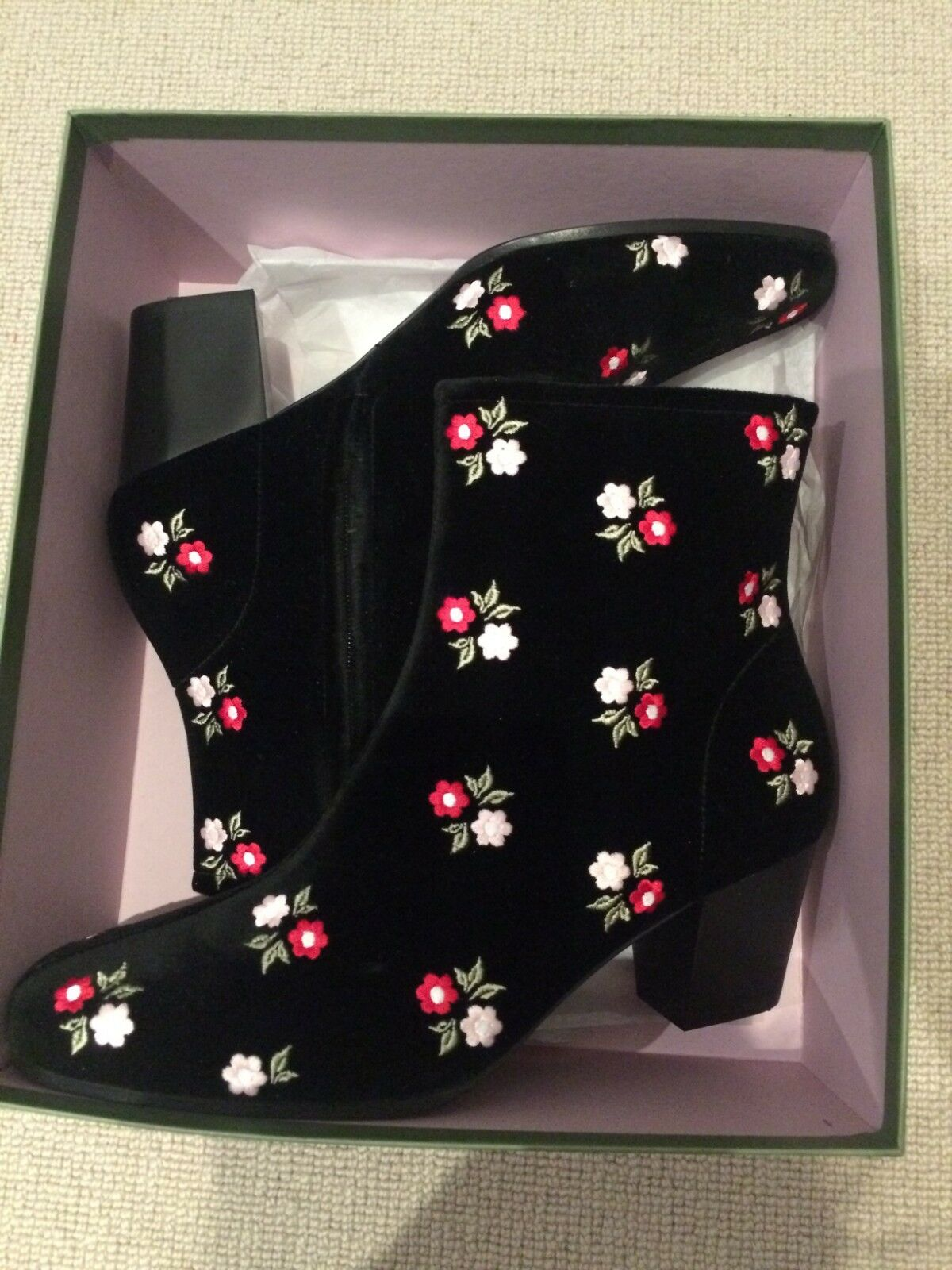 ALEXA CHUNG Velours Noir Bottines à talon avec brodé fleurs NEUF