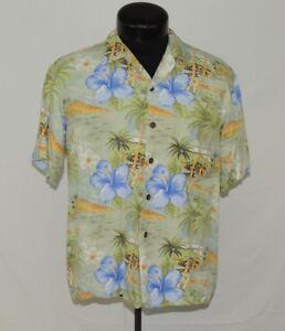 VTG Made in Hawaii Hawaiian Shirt Fashion Ort Rayon Hibiscus Palm Tropic M Aloha