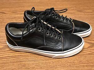 Image is loading Vans-721356-Unisex-Black-White-Brown-Leather-Skateboard- ae208e52c