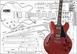 gibson es 355 hollow body electric guitar plan ebay. Black Bedroom Furniture Sets. Home Design Ideas