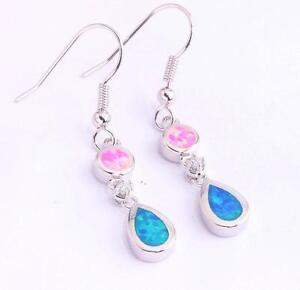 UK-SELLER-Silver-Rhodium-Plated-PINK-BLUE-FIRE-OPAL-PETITE-Drop-Earrings