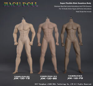 1-6-JIAOU-DOLL-Figure-Steel-Skeleton-Detachable-Foot-Strong-Male-Body-NO-Head