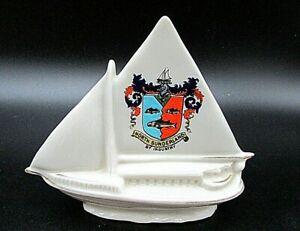 Antique-Crested-China-Sailing-Boat-North-Sunderland-crest-Carlton-China