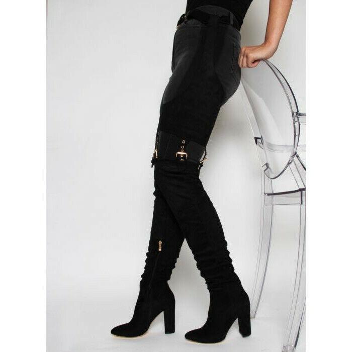Vintage Womens Thigh High Boots Pants Belt Buckle High Block Heels shoes New Sz