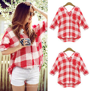 b062a44c5 Image is loading Womens-Long-Sleeve-Checked-Shirts-Ladies-Summer-Button-