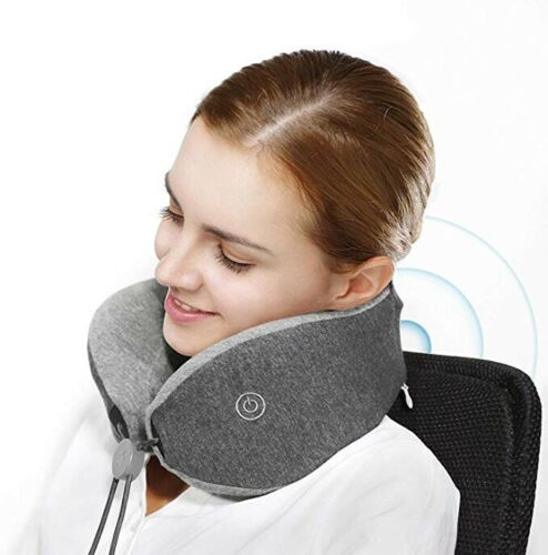Aids Sleep /& Re.. Massaging Memory Foam Travel Neck Pillow With Magnetic Clasps