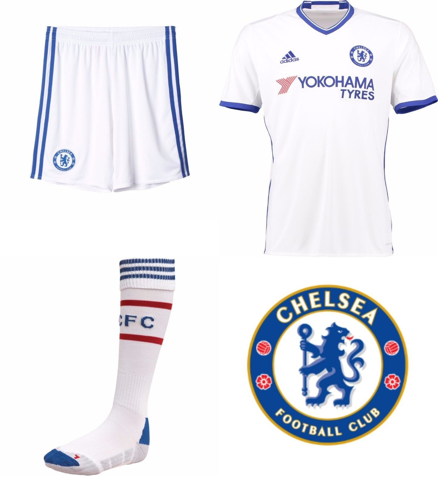 Chelsea 3. Set Hemd Shorts & Socken 2016 17 Jahreszeiten Kinder Offiziell Adidas