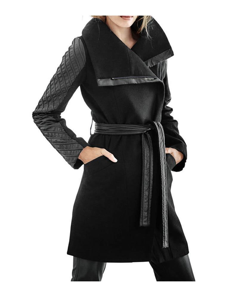 Mantel Wollmantel Walkmantel Kurzmantel von Patrizia Dini schwarz NEU