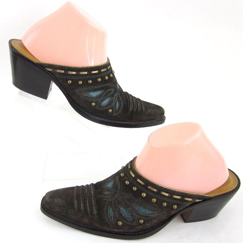 Cole Haan 'Morgan' Western Heel Slide Mules Braun Blau Sz 8B