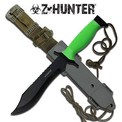 NEW! Z-Hunter Zombie Fixed Blade Knife w/ Hard Plastic Sheath Dead Walking