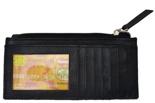 Women/'s Leather Slim Credit Card ID Wallet Zipper Coin Change Purse