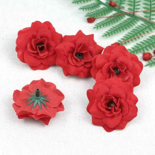 10-100pcs Bulk 5cm Artificial Velvet Rose Red Silk Fake Roses Flower Faux Heads