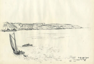 Austin Blomfield - 1957 Charcoal Drawing, Mouth of the Tagus
