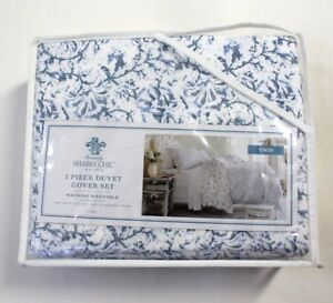 Simply-Shabby-Chic-2-Piece-Batik-Indigo-Blue-Floral-Cotton-Duvet-Cover-Set-Twin