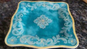 Cynthia-Coulter-Melamine-Plate-Square-Teal-Green-Blue-Yellow-Design-Replacement