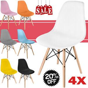 Modern Kunststoff Bürostuhl Retro Frühstück Esszimmer Büro Stühle Holz Bein