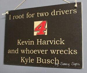 Kevin-Harvick-wrecks-Kyle-Busch-Driver-Sign-Racing-Bar-Man-Cave-Tickets