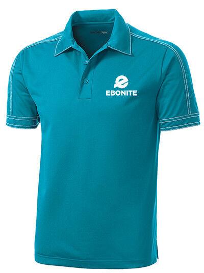 Ebonite Men's Boom Performance Polo Bowling Shirt Dri-Fit Tropic bluee