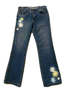 CRAZY-8-Girl-Size-14-Denim-Jeans-Bootcut-Embroidery-Floral