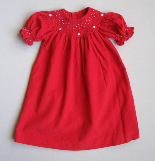 Mom & Me Girls 12 Mo Red Corduroy Pearl Smocked Bishop Dress EUC