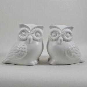 Dos-esculturas-de-porcelana-blanca-con-dibujo-de-Buho-Ornamento-Decorativo-Figura-Casa-Jardin-33056