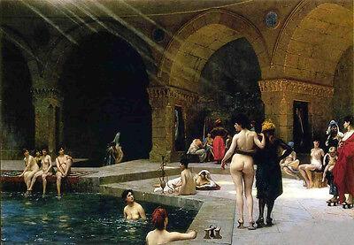 "Beautiful Oil painting Jean-Leon Gerom - Great pool bathing women canvas 36"""