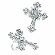 Antique Crystal Gothic Cross Adjustable Fashion Ring - Silver Tone