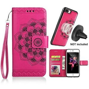 iPhone-8-Plus-Wallet-7-Case-Credit-Card-Slots-Pockets-Magnetic-Leather-Pink-New