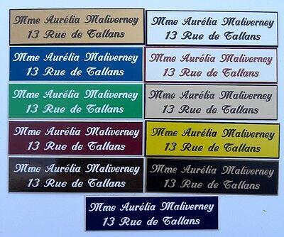 Plaque de boite aux lettres 3 lignes 10x2.5 cm 15 couleurs au choix biseautée