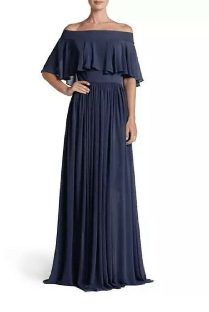 "Dress The Population Bridal ""purple"" Off The Shoulder Gown Navy Size Medium"
