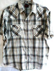 Plains-Western-Wear-Mens-Cowboy-Pearl-Snap-Shirt-Extra-Large-Tall-XLT-Plaid