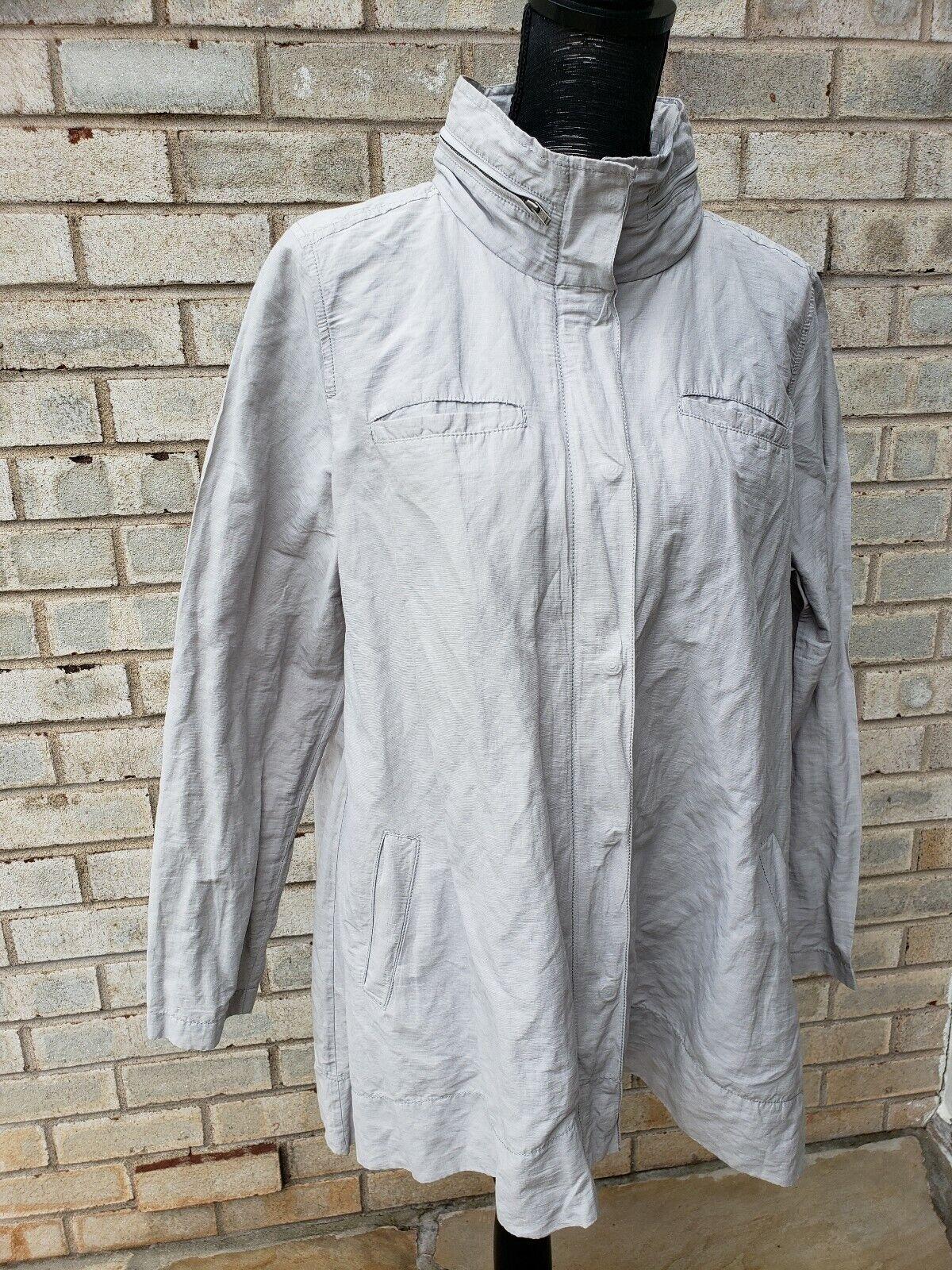 Eileen Fisher Caqui Algodón  Full Zip chaqueta con capucha Abrigo Grande Snap  servicio honesto