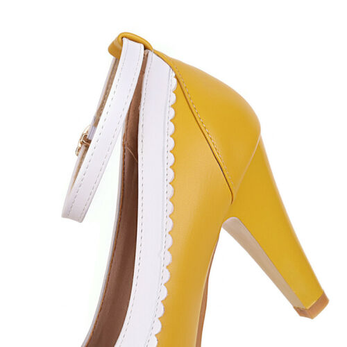 Women/'s Big Size Cute Pointed Toe Chunky High Heel Ankle Strap Dress Pumps Shoes