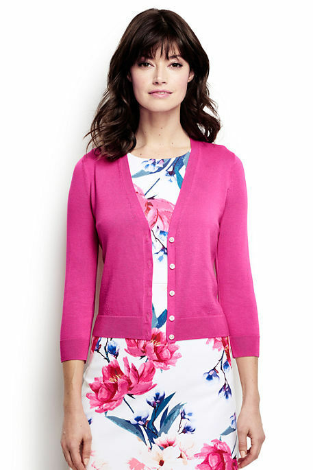 Lands End Women's Supima 3 4 Sleeve Dress Dress Dress Cardigan Sweater Vibrant Magenta New 506ab4