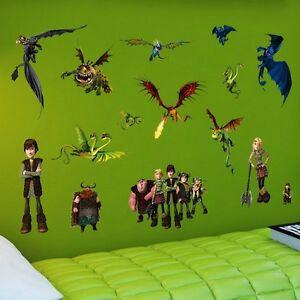 Das Bild Wird Geladen Wandtattoo Wandaufkleber Drachenzaehmen Drachen  Dragon Wall Sticker Kinderzimmer
